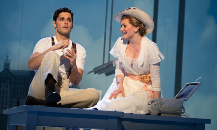 Perry Sherman as Francis Grand, the unknown soldier, and Kerstin Anderson as Lucy Lemay. (Joan Marcus)