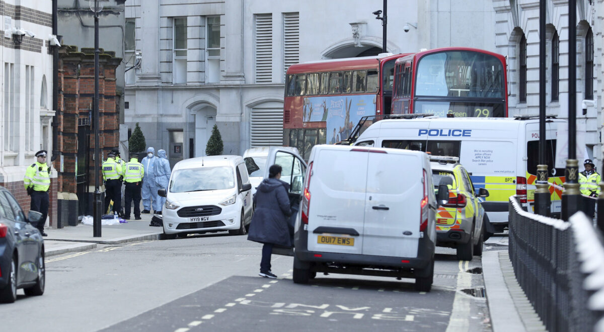 Man 'brandishing knives' shot dead by police in Westminster