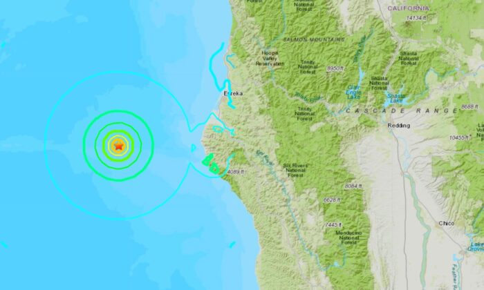 A map showing the location of the 5.8 magnitude earthquake just off the coast of California. which struck on March 8, 2020. (USGS)