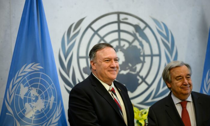 Secretary of State Mike Pompeo (L) and United Nations Secretary-General Antonio Guterres pose for a picture ahead of a meeting at the New York UN Headquarters in New York City, N.Y., on March 6, 2020. (Johannes Eisele/AFP/Getty Images)