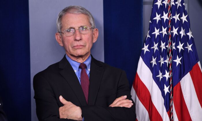 Director of the National Institute of Allergy and Infectious Diseases at the National Institutes of Health Dr. Anthony Fauci listens as Vice President Mike Pence speaks about the coronavirus alongside members of the Coronavirus Task Force in the Brady Press Briefing Room at the White House in Washington, on March 9, 2020. (Saul Loeb/AFP via Getty Images)