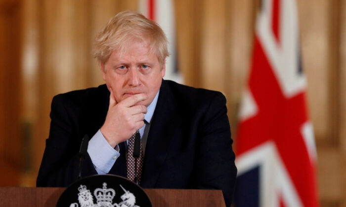 British Prime Minister Boris Johnson speaks during a news conference on the CCP virus in London, UK, on March 3, 2020. (Frank Augstein/Pool via Reuters)