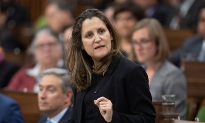 Deputy Prime Minister and Minister of Intergovernmental Affairs Chrystia Freeland responds to a question during Question Period in the House of Commons, in Ottawa on March 9, 2020. (Adrian Wyld/The Canadian Press)