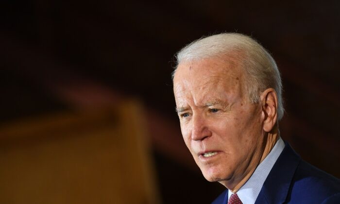Democratic presidential candidate Joe Biden speaks to supporters during a campaign stop at Berston Field House in Flint, Mich., on March 9, 2020. (Mandel Ngan/AFP/Getty Images)