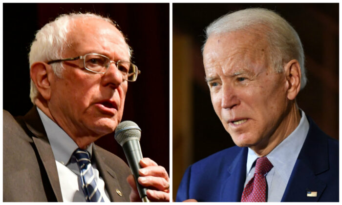 Left: Democratic presidential hopeful Sen. Bernie Sanders (I-Vt.) speaks at a Bernie 2020 rally at the Stifel Theater in downtown St. Louis, Mo., on March 9, 2020. (Tim Vizer/AFP via Getty Images) Right: Democratic presidential candidate Joe Biden speaks to supporters during a campaign stop at Berston Field House in Flint, Mich., on March 9, 2020. (Mandel Ngan/AFP via Getty Images)