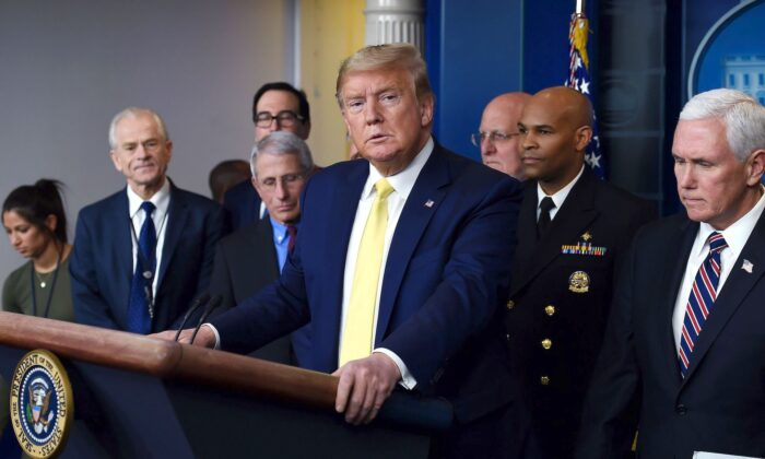 President Donald Trump speaks about the COVID-19 (coronavirus) alongside members of the Coronavirus Task Force in the Brady Press Briefing Room at the White House in Washington, on March 9, 2020. (Olivier Douliery/AFP via Getty Images)