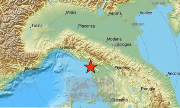 A small earthquake hit northern Italy on Tuesday as the country is grappling with the COVID-19 coronavirus outbreak.  (European Mediterranean Seismological Center.)