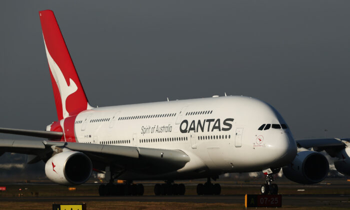 A Qantas A380 taxis at Sydney Airport prior to the 100 Year Gala Event in Sydney, Australia on Oct. 31, 2019. (Brendon Thorne/Getty Images)