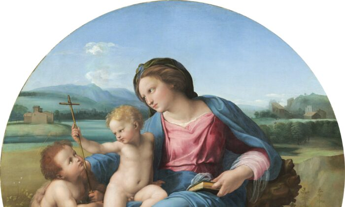 """Detail from """"The Alba Madonna,"""" circa 1510, by Raphael. Oil on panel transferred to canvas. Andrew W. Mellon Collection, National Gallery of Art, Washington. (National Gallery of Art, Washington)"""