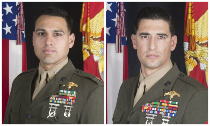 Capt. Moises A. Navas (L) and Gunnery Sgt. Diego D. Pongo (R). (U.S. Marine Corps)