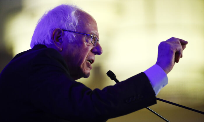 Democratic presidential candidate Sen. Bernie Sanders (I-Vt.) speaks during First in the South Dinner in Charleston, S.C., on Feb. 24, 2020. (Matt Rourke/AP Photo)