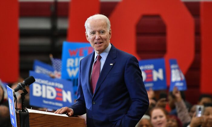 Democratic presidential candidate former Vice President Joe Biden speaks during a campaign rally at Renaissance High School in Detroit, Michigan, on March 9, 2020. (Mandel Ngan/AFP/Getty Images)