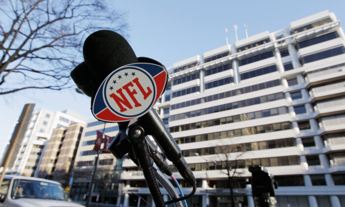 An NFL logo on a microphone is seen in Washington on March 2, 2011. (Rob Carr/Getty Images)