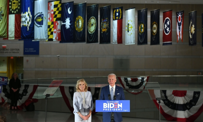 Democratic presidential hopeful former Vice President Joe Biden speaks, flanked by his wife Jill Biden, at the National Constitution Center in Philadelphia on March 10, 2020. (Mandel Ngan/AFP via Getty Images)