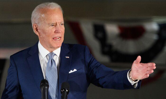 Democratic presidential hopeful former Vice President Joe Biden speaks at the National Constitution Center in Philadelphia on March 10, 2020. (MANDEL NGAN/AFP via Getty Images)