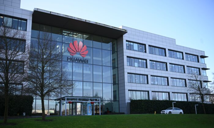 Huawei's main U.K. offices in Reading, west of London, on Jan. 28, 2020. (Daniel Leal-Olivas / AFP via Getty Images)