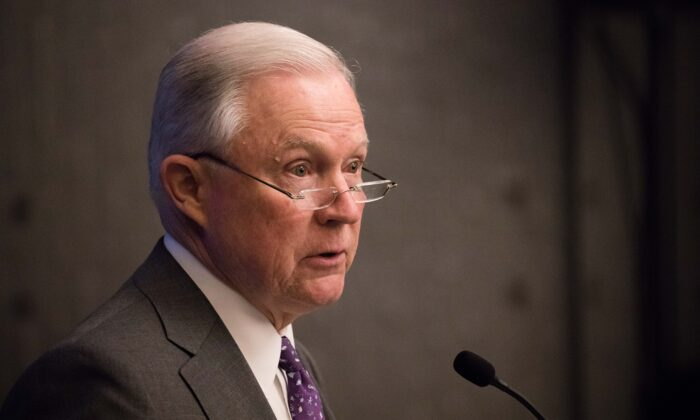 Former Attorney General Jeff Sessions speaks at the 2018 Opioid Roundtable hosted by the National Sheriffs' Association and the Daniel Morgan Graduate School of National Security, in Washington on May 3, 2018. (Samira Bouaou/The Epoch Times)