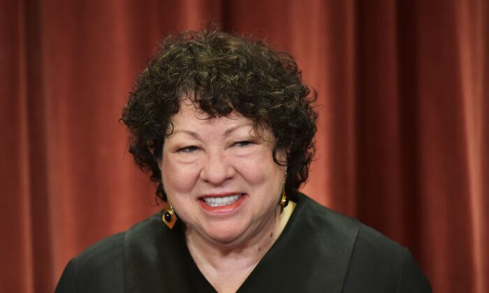 Associate Justice Sonia Sotomayor poses in the official group photo at the U.S. Supreme Court in Washington on Nov. 30, 2018. (Mandel Ngan/AFP via Getty Images)