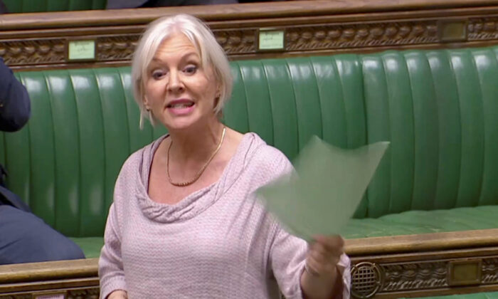 British Conservative MP Nadine Dorries speaks in the Parliament in London, Britain on April 3, 2019, in this screen grab taken from video. (Reuters TV via Reuters)