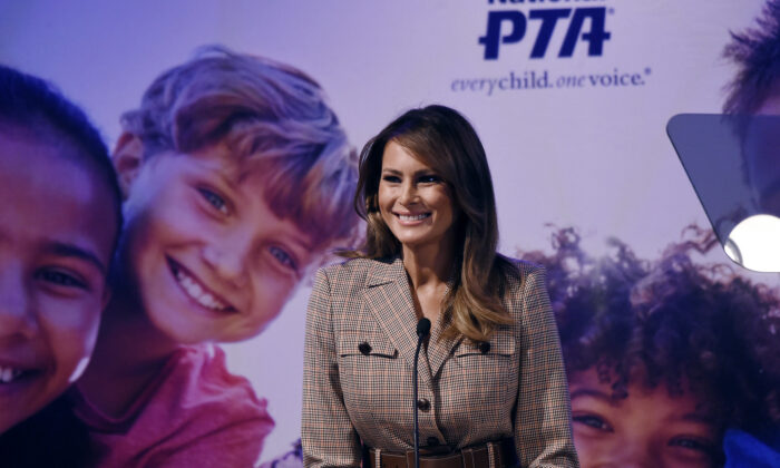 First Lady Melania Trump addresses the 2020 National Parent Teacher Association (PTA)  Legislative Conference at the Westin Alexandria Old Town in Alexandria, Virginia on March 10, 2020. (Olivier Douliery/AFP via Getty Images)
