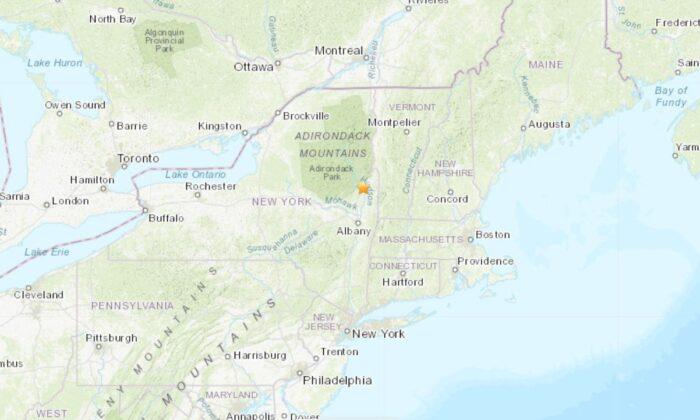 The location of the earthquake in New York (USGS)