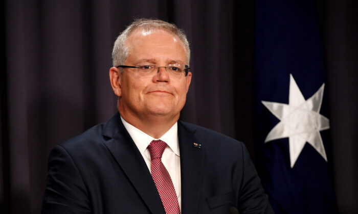 Prime Minister Scott Morrison speaks to media during a press conference in the Blue Room at Parliament House on March 03, 2020 in Canberra, Australia. (Tracey Nearmy/Getty Images)