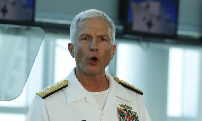 U.S. Navy Admiral Craig Faller, commander of U.S. Southern Command speaks after touring the U.S. Navy Hospital Ship USNS Comfort on June 18, 2019 in Miami, Florida. (Joe Skipper/Getty Images)