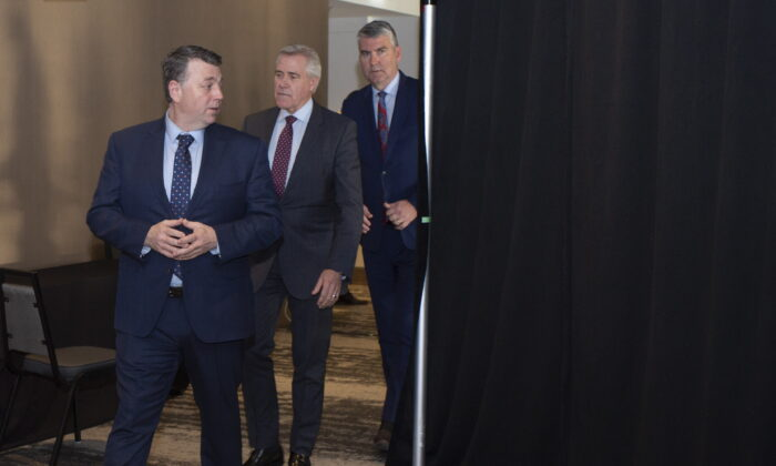 Prince Edward Island Premier Dennis King, Newfoundland and Labrador Premier Dwight Ball, and Nova Scotia Premier Stephen McNeil arrive for a press conference following the Atlantic Premiers Conference at the Emera Innovation Centre in St. John's on Jan. 13, 2020. (Paul Daly/The Canadian Press)