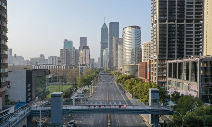 This aerial photo taken on March 10, 2020 shows an almost empty street in Wuhan in China's central Hubei province. (STR/AFP via Getty Images)