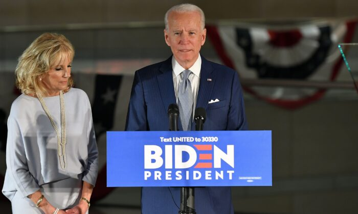 Democratic presidential hopeful former Vice President Joe Biden speaks, flanked by his wife Jill Biden, at the National Constitution Center in Philadelphia, Penn., on March 10, 2020. (Mandel Ngan/AFP via Getty Images)