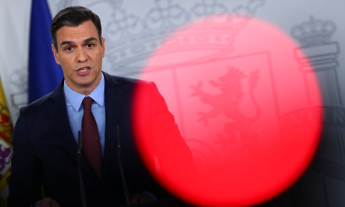 Spanish Prime Minister Pedro Sanchez speaks during a news conference after taking part in a conference call with European leaders at the Moncloa Palace in Madrid on March 10, 2020. (Sergio Perez/File/Reuters)