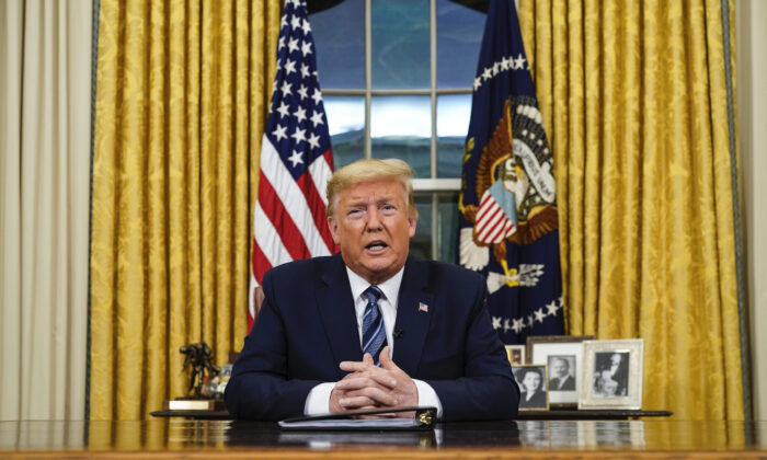 President Donald Trump addresses the Nation from the Oval Office about the widening coronavirus crisis, March, 11, 2020.  (Doug Mills-Pool/Getty Images)