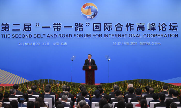 Chinese leader Xi Jinping gives a speech at a press conference after the Belt and Road Forum at the China National Convention Center at the Yanqi Lake venue in Beijing, China, on April 27, 2019. (Wang Zhao/Getty Images)