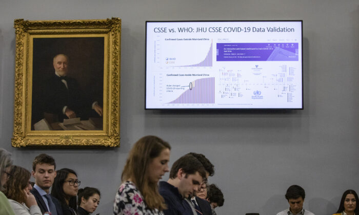 Statistics are shown on a screen during a briefing on the developments of the novel coronavirus, also known as COVID-19, from medical and research staff from Johns Hopkins University on Capitol Hill, Washington, D.C., on March 6, 2020. Johns Hopkins has been on the forefront of researching the coronavirus and developed the outbreak map dashboard that is being used by officials worldwide to track the virus. (Samuel Corum/Getty Images)