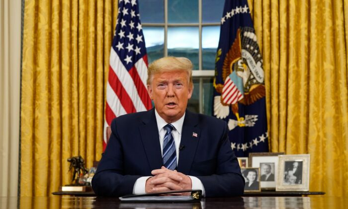 President Donald Trump addresses the Nation from the Oval Office about the widening novel coronavirus crisis in Washington, on March 11, 2020. (Doug Mills/POOL/AFP via Getty Images)
