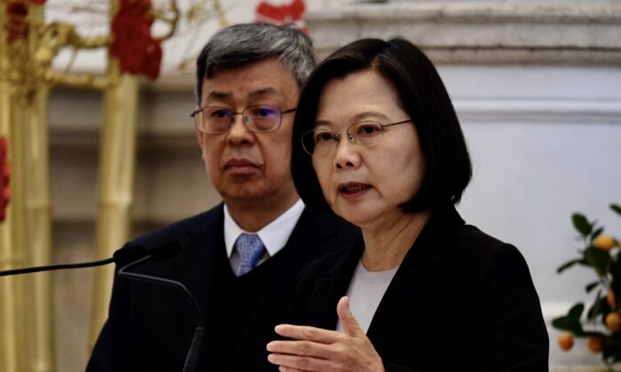 Taiwan President Tsai Ing-wen speaks during a press conference at the presidential office as Vice President Chen Chien-jen looks on in Taipei on Jan. 22, 2020. (Sam Yeh/AFP via Getty Images)
