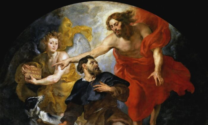 """A detail from """"Christ Appointing Saint Roch as Patron Saint of Plague Victims,"""" circa 1623–1626, by Peter Paul Rubens. Oil on Canvas. St. Martin's Church in Aalst, Belgium. (Public Domain)"""