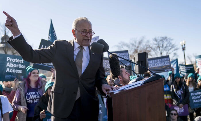 Senate Minority Leader Sen. Chuck Schumer (D-N.Y.) speaks in an abortion rights rally outside of the Supreme Court in Washington on March 4, 2020. (Sarah Silbiger/Getty Images)