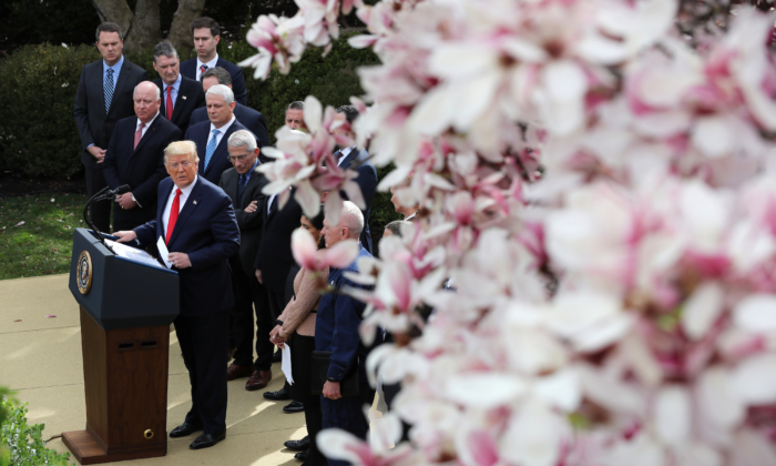 President Donald Trump speaks during a news conference about the ongoing global coronavirus pandemic in the Rose Garden of the White House in Washington on March 13, 2020. (Chip Somodevilla/Getty Images)
