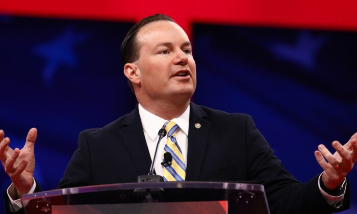 Sen. Mike Lee (R-Utah) in National Harbor, Md., on Feb. 28, 2019. Lee opposes a House-passed extension of the FISA law. (Charlotte Cuthbertson/The Epoch Times)