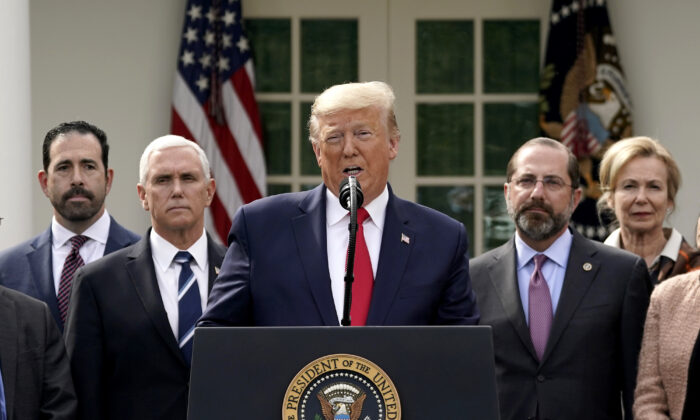 President Donald Trump holds a news conference about the ongoing global coronavirus pandemic in the Rose garden at the White House in Washington, on March 13, 2020. (Drew Angerer/Getty Images)