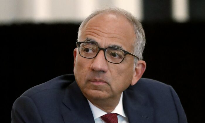 U.S. Soccer President Carlos Cordeiro presides over a meeting of the U.S. Soccer Board of Directors in Chicago on Dec. 6, 2019. (Charles Rex Arbogast/AP Photo)