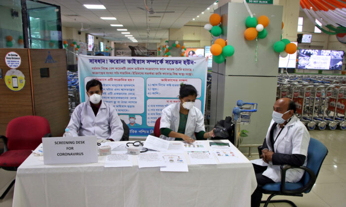 A health desk is set up to screen travelers for signs of the coronavirus at Maharaja Bir Bikram Airport in Agartala, India, on Jan. 31, 2020. (Reuters/Jayanta Dey/File Photo)
