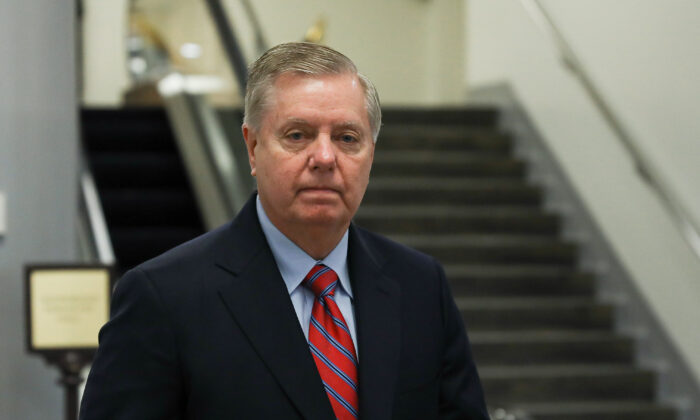 Sen. Lindsey Graham (R-S.C.) in the Senate subway area of the Capitol in Washington on Feb. 4, 2020. (Charlotte Cuthbertson/The Epoch Times)