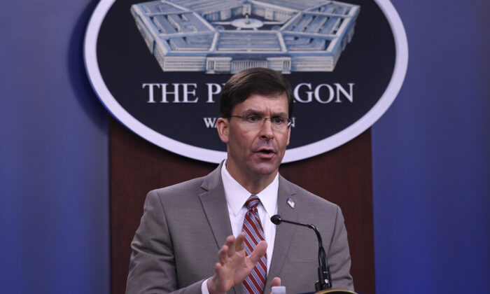 Defense Secretary Mark Esper speaks during a briefing at the Pentagon in Washington on March 2, 2020. (Susan Walsh/AP Photo)
