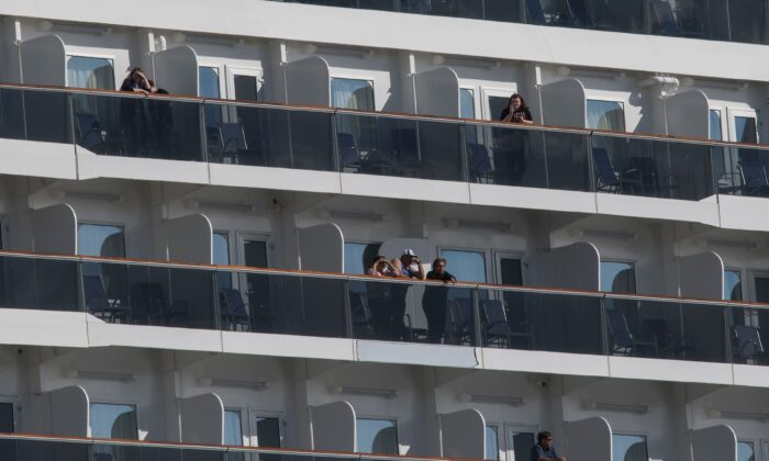 Passengers wait for news on coronavirus testing on the Carnival Panorama cruise ship in Long Beach, California, on March 7, 2020. (Mark Ralston/AFP via Getty Images)