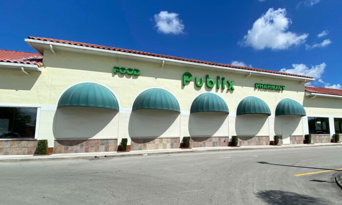 General overall exterior view of Publix supermarket, in Royal Palm Beach, Fla., on March 13, 2020,  (Steve Mitchell/Image of Sport via AP)