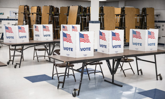 Voting booths in Arlington, Virginia, on March 3, 2020. (Samuel Corum/Getty Images)