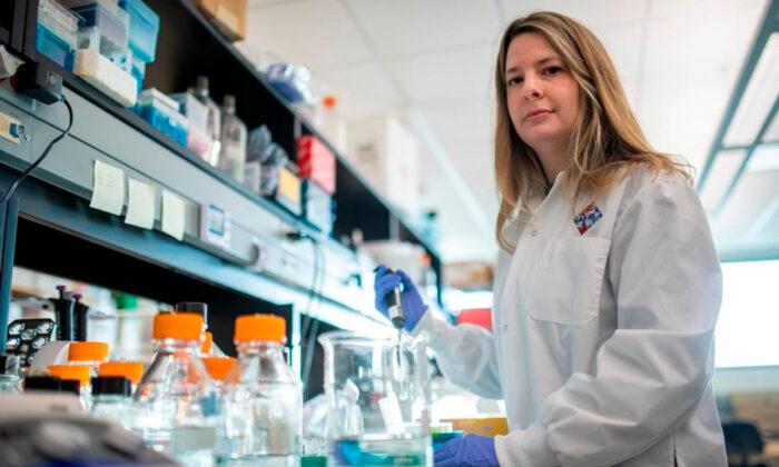 Alyson Kelvin, who is working on different coronavirus solutions, at her University of Saskatchewan lab inside VIDO-InterVac in Saskatoon, on March 13, 2020. (Liam Richards/The Canadian Press)