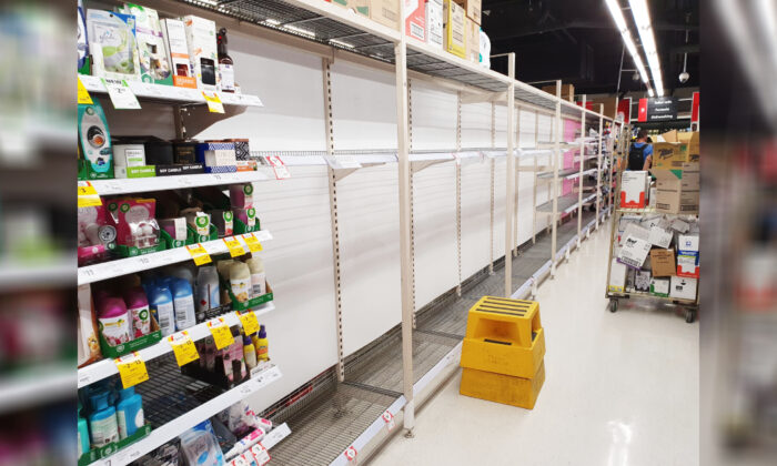 Empty shelves where the toilet paper is supposed to be stocked at Coles supermarket in Melbourne, Australia on March 8, 2020. (The Epoch TImes)